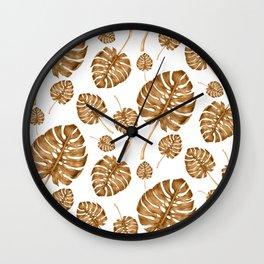 Gold Monstera Leaf Print Wall Clock