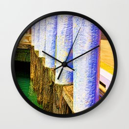 Abstract harbor bollards Wall Clock