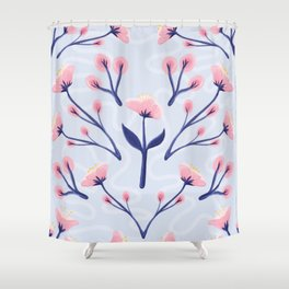 Mod Icy Pink Flowers Shower Curtain