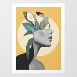 Floral Portrait /collage 3 Art Print