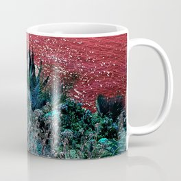 alien landscape indigo orange surrealist sunset on the beach Coffee Mug