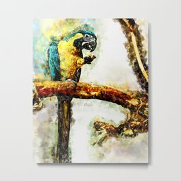 Tropical Parrot Eating Food Metal Print
