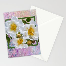 White Flowers with Inset Stationery Cards