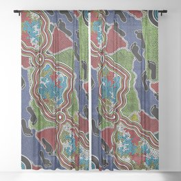 Aboriginal Art Authentic - Walking the Land Sheer Curtain