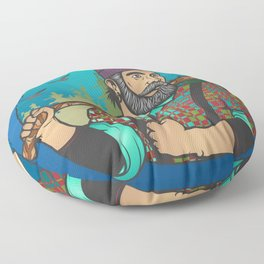 Hipster Lumberjack Blue Floor Pillow