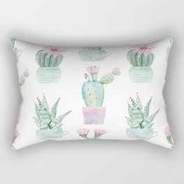 Simply Echeveria Cactus in Pastel Cactus Green and Pink Rectangular Pillow