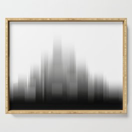 abstract city skyline - Black and white illustration Serving Tray