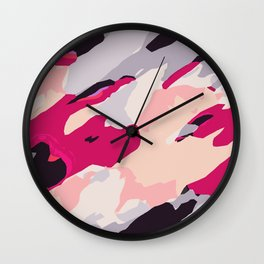 pink grey and black painting abstract background Wall Clock