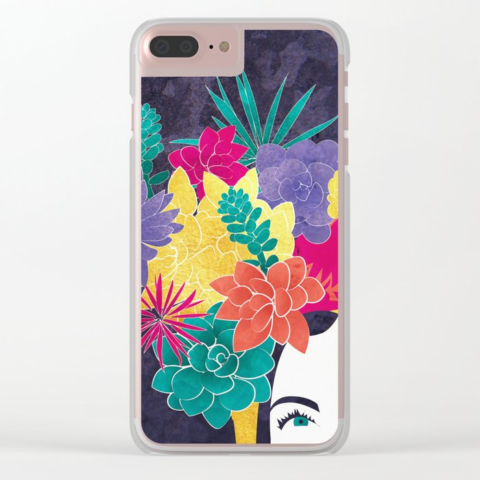 Succulent Eyes Clear iPhone Case