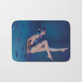 Butterfly Lady in Deep Blue Bath Mat