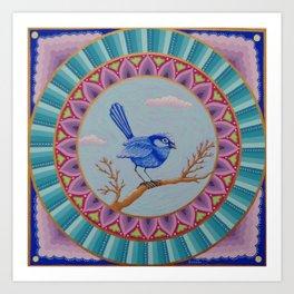 Pretty Blue Wren Mandala Art Print