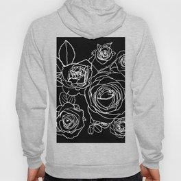 Feminine and Romantic Rose Pattern Line Work Illustration on Black Hoody
