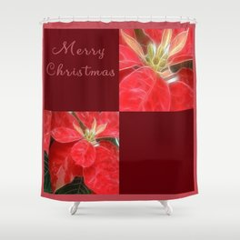 Mottled Red Poinsettia 1 Ephemeral Merry Christmas Q10F1 Shower Curtain