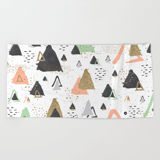 Triangles & textures watercolor Beach Towel