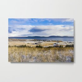 View across Rural Farmlands with Snow and the Sea and Mountains in the Distance in the Golden Circle of Iceland Metal Print