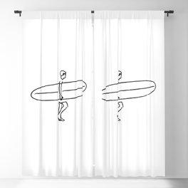 Long Board Surfer Sketch Blackout Curtain
