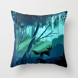 Shadow Wolves Stalk The Silver Wood Throw Pillow