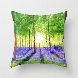 Bluebell woods Throw Pillow
