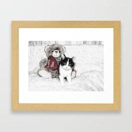 Valentines kitten and teddy Framed Art Print