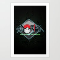 snorlax Art Prints featuring snorlax - pocket monsters and nice sprites. by dann matthews