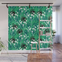 Seeds on green Wall Mural
