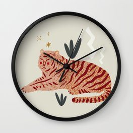 Resting Tiger Jungle Motif Midcentury Modern Cool Magical Mystical Abstract Art Bohemian Boho Style Trendy  Wall Clock