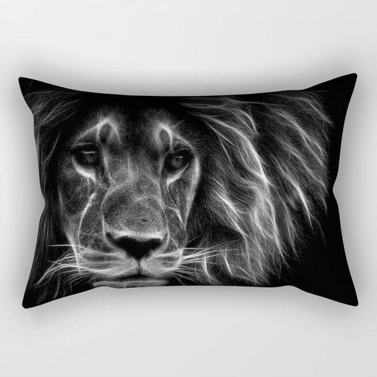 lion.  Black & White Rectangular Pillow