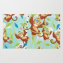 Cheeky Monkeys Swinging in the Trees Rug