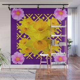 Wild Roses Gold Daffodil Purple Pattern Wall Mural
