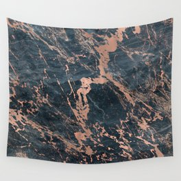 Blue & Rose Gold Marble Wall Tapestry