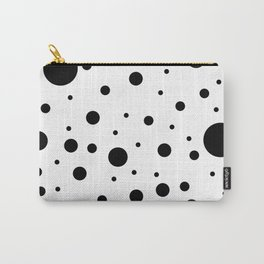 Mixed Polka Dots - Black on White Carry-All Pouch