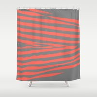 stripes Shower Curtains featuring Coral & Gray Stripes by 2sweet4words Designs