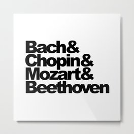 Bach and Chopin and Mozart and Beethoven, sticker, circle, white Metal Print