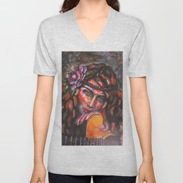 Layla and Her Guitar Unisex V-Neck
