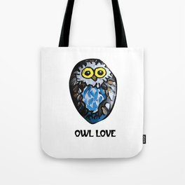 Owl Love Rock Painting on River Rock by annmariescreations Tote Bag