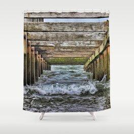 Groynes at Horsey Gap Shower Curtain