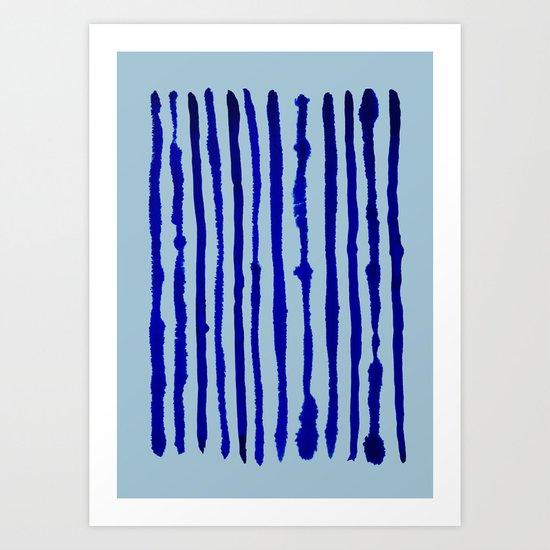 Blue Stripes Watercolor Pattern Art Print