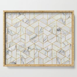 Marble hexagonal pattern Serving Tray