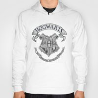 hogwarts Hoodies featuring Hogwarts by Cécile Pellerin