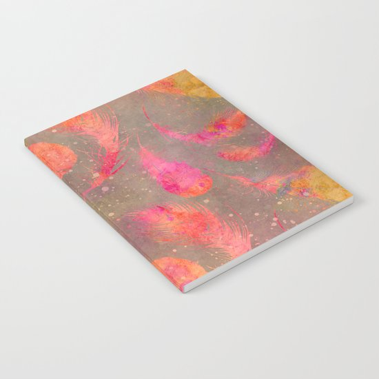 Feather pink and orange Notebook
