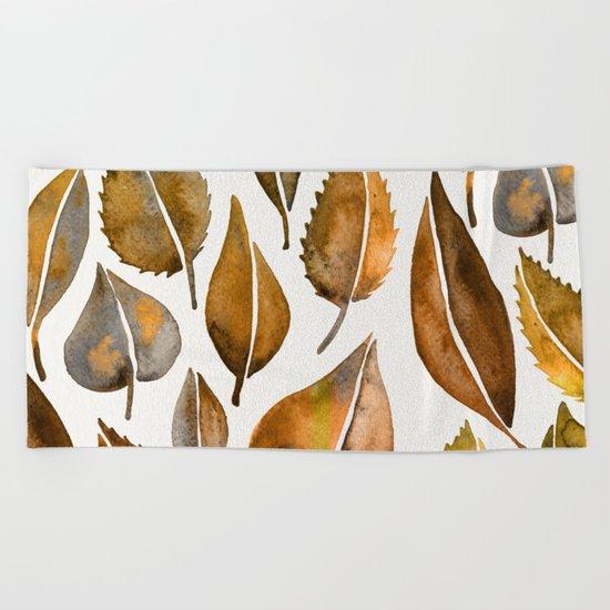 Rusty Leaves Beach Towel