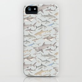 Watercolour shark pattern on pale blue iPhone Case