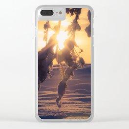 Winter Morning sunrise on leaves at Creamers Field, Fairbanks Alaska Clear iPhone Case