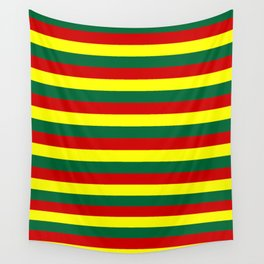 red green yellow stripes Wall Tapestry