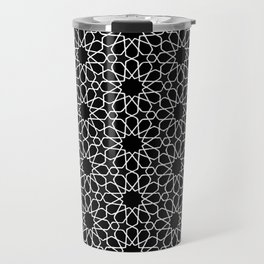 Beautiful Pattern #32 Arabic Geometry White over Black Travel Mug