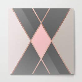 Modern pastel pink gray color block rose gold stripes Metal Print