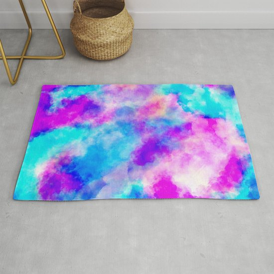 Modern hand painted neon pink teal abstract watercolor by pink_water