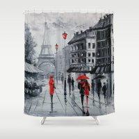 paris Shower Curtains featuring Paris by OLHADARCHUK