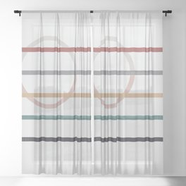 for Love || stripes & circle Sheer Curtain