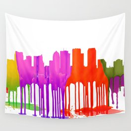 Tampa, Florida Skyline - Puddles Wall Tapestry